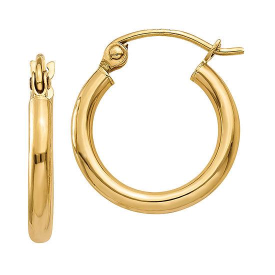 14K Gold 15mm Round Hoop Earrings