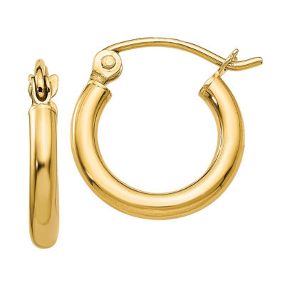 14K Gold 13mm Round Hoop Earrings