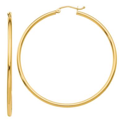 14K Gold 50mm Round Hoop Earrings