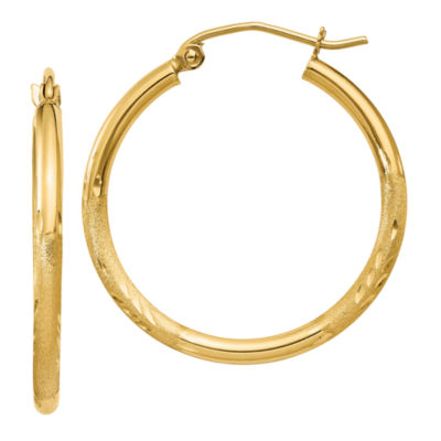 14K Gold 25mm Round Hoop Earrings
