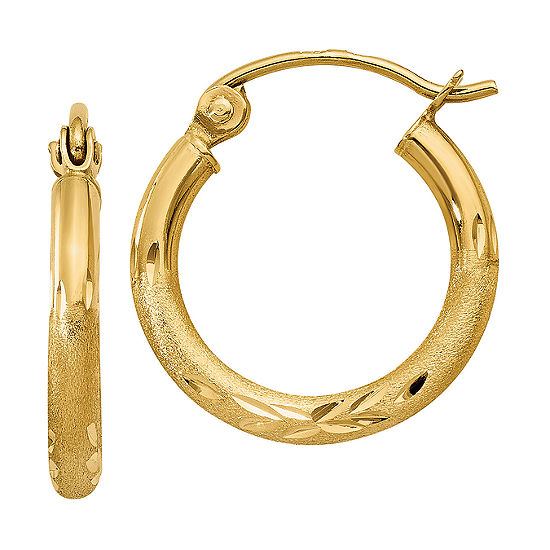 14K Gold 15mm Round Hoop Earrings