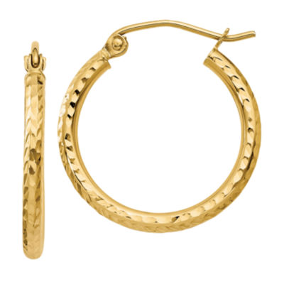 14K Gold 20mm Round Hoop Earrings