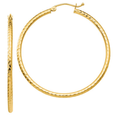 14K Gold 40mm Round Hoop Earrings