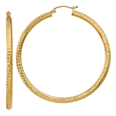 14K Gold 50mm Round Hoop Earrings
