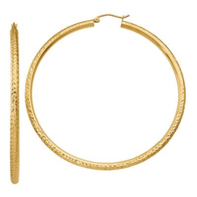 14K Gold 65mm Round Hoop Earrings