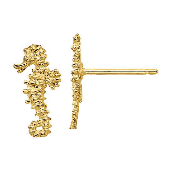 14K Gold 13mm Stud Earrings