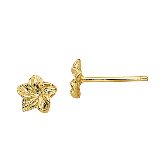 14K Gold 5mm Flower Stud Earrings
