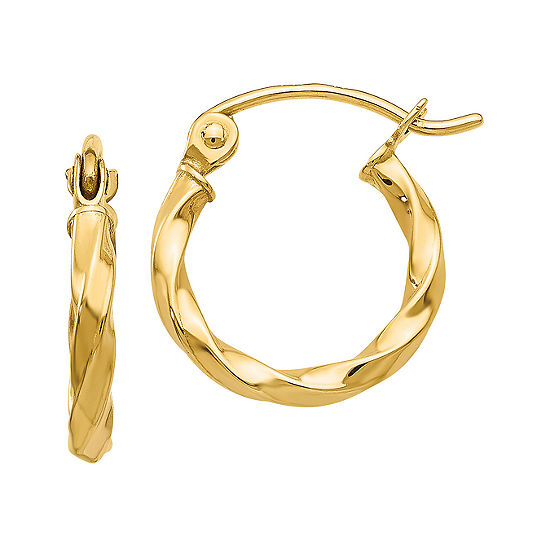 14K Gold 10mm Round Hoop Earrings