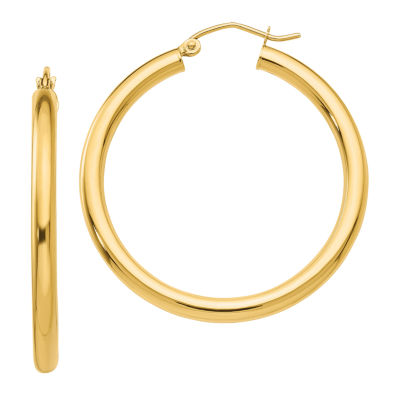 14K Gold 35mm Round Hoop Earrings