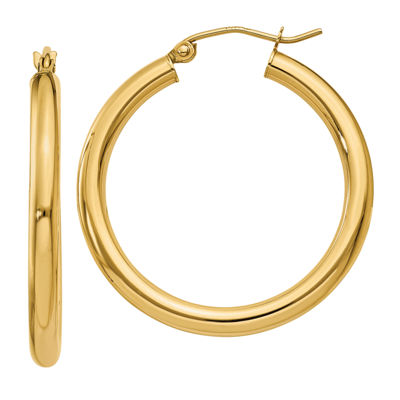 14K Gold 30mm Round Hoop Earrings