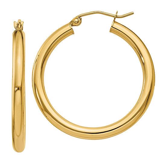 14K Gold 30mm Round Hoop Earrings