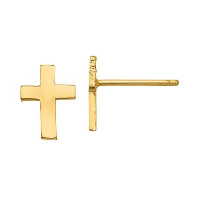 14K Gold 9mm Cross Stud Earrings