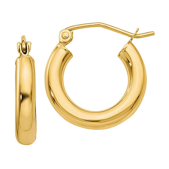 14K Gold 16mm Round Hoop Earrings