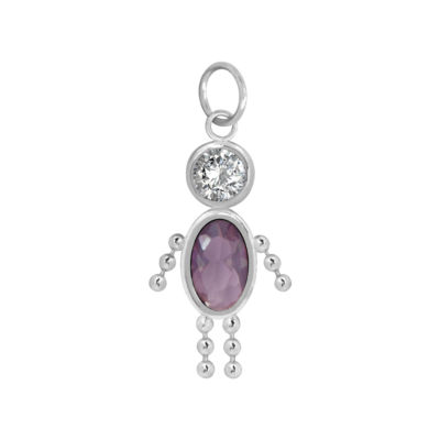 10K White Gold February Birthstone Babies Boy Charm