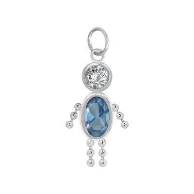 10K White Gold March Birthstone Babies Boy Charm