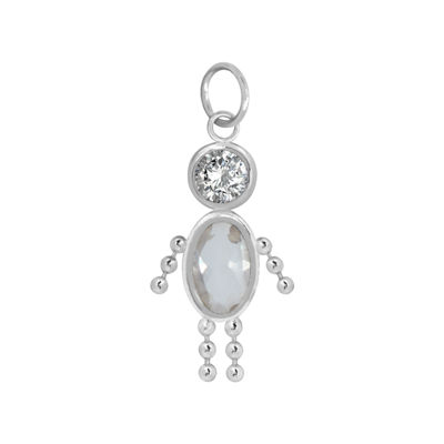 10K White Gold April Birthstone Babies Boy Charm