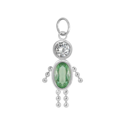 10K White Gold August Birthstone Babies Boy Charm