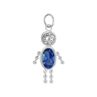 10K White Gold September Birthstone Babies Boy Charm