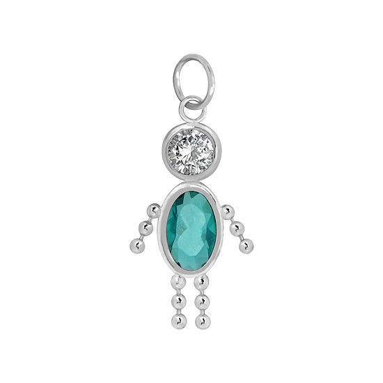 10K White Gold December Birthstone Babies Boy Charm