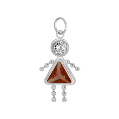 10K White Gold January Birthstone Babies Girl Charm