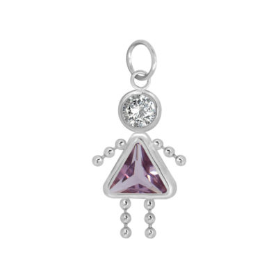 10K White Gold February Birthstone Babies Girl Charm