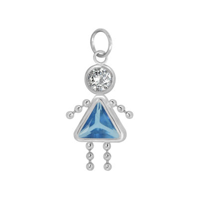 10K White Gold March Birthstone Babies Girl Charm