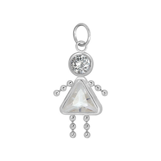 10K White Gold April Birthstone Babies Girl Charm