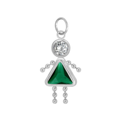 10K White Gold May Birthstone Babies Girl Charm