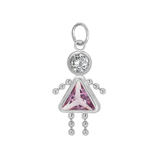 10K White Gold June Birthstone Babies Girl Charm