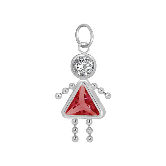10K White Gold July Birthstone Babies Girl Charm
