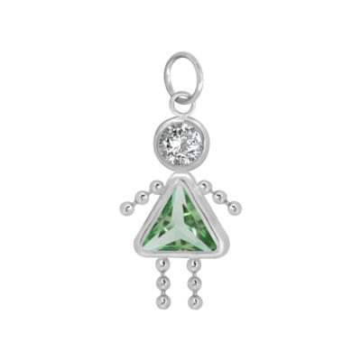 10K White Gold August Birthstone Babies Girl Charm