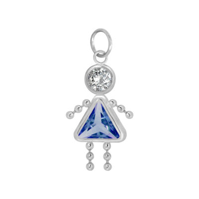 10K White Gold September Birthstone Babies Girl Charm