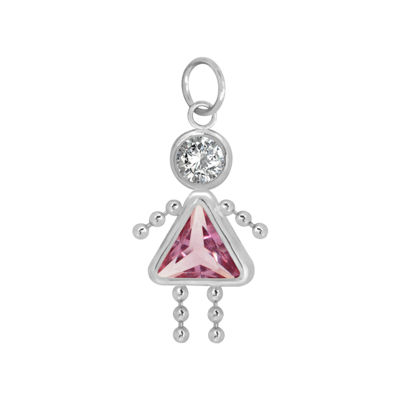 10K White Gold October Birthstone Babies Girl Charm