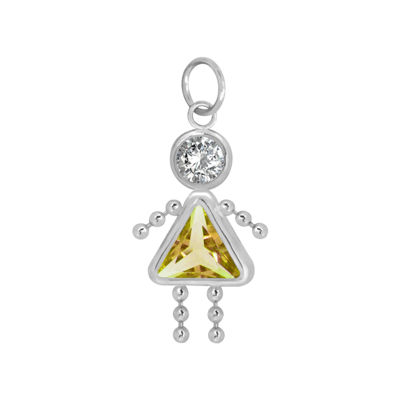 10K White Gold November Birthstone Babies Girl Charm