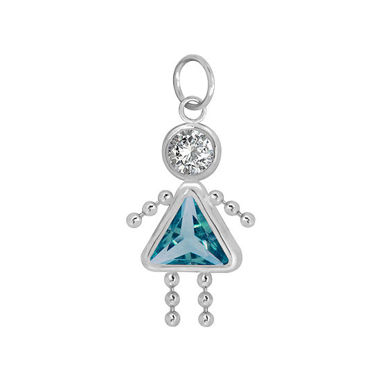 10K White Gold December Birthstone Babies Girl Charm