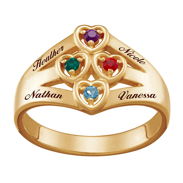 Personalized Womens Crystal 18K Gold Over Silver Cocktail Ring