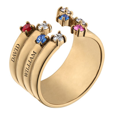Personalized Womens Crystal 18K Gold Over Silver Round Cocktail Ring