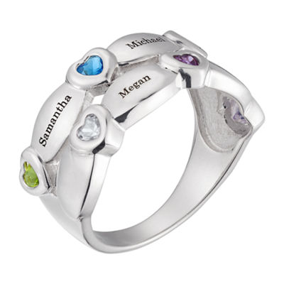 Personalized Womens Cubic Zirconia Sterling Silver Heart Cocktail Ring