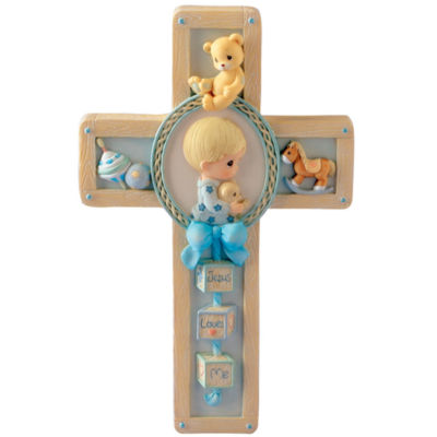 Precious Moments Boy Praying Bear Plaque Baby Milestones
