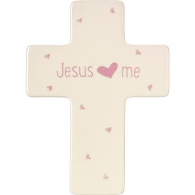 Precious Moments Jesus Loves Me Girl Cross Baby Milestones - Girls