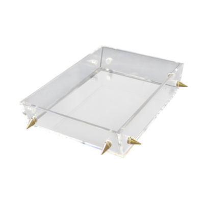R16 Home Small Lucite Stud Decorative Tray