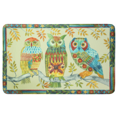 Bacova Guild Embroidery Owl Printed Rectangular Anti-Fatigue Rugs