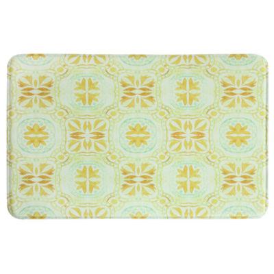 Bacova Guild Barred Leaf Tiles Printed Rectangular Anti-Fatigue Rugs