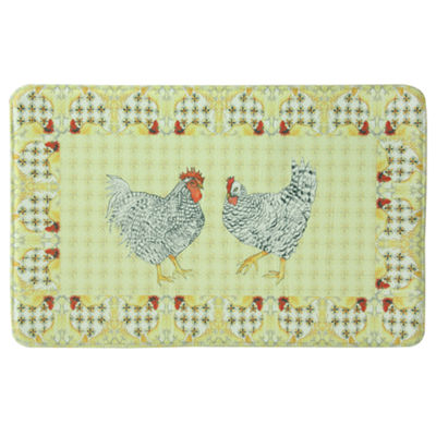 Bacova Guild Rooster With Tile Border Printed Rectangular Anti-Fatigue Rugs