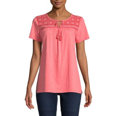 St. John's Bay Short Sleeve Split Crew Neck T-Shirt-Womens