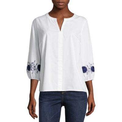 Liz Claiborne 3/4 Embroidered Sleeve Shirt