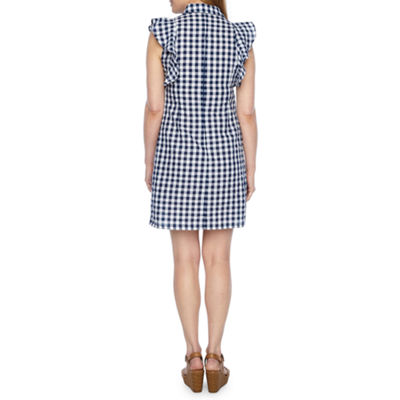 R & K Originals Sleeveless Plaid Shift Dress-Petite