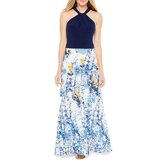 Danny & Nicole Sleeveless Floral Maxi Dress