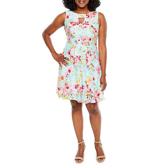 R K Originals Sleeveless Floral Fit Flare Dress Petite
