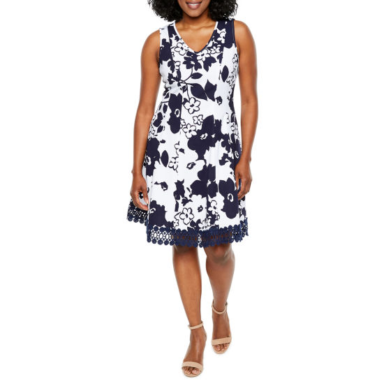 Studio 1 Sleeveless Floral Fit & Flare Dress-Petite